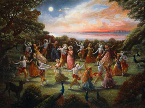 Krishna dances with the gopis, representing God dancing with each soul as part of the divine raas-leela.